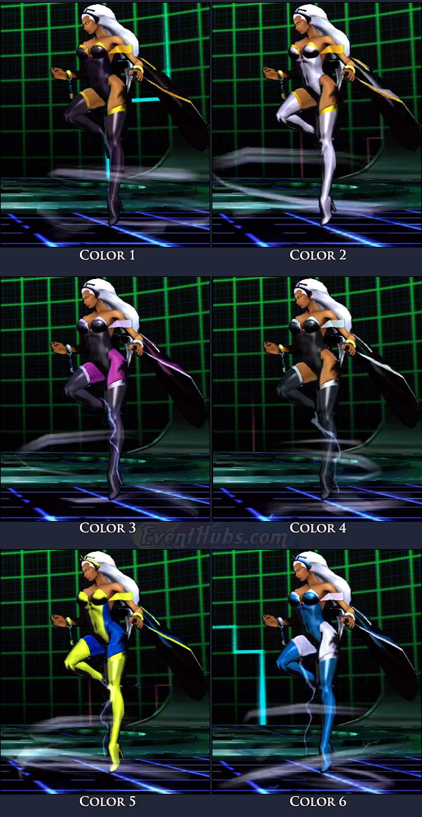 Storm's main costume colors in Marvel vs. Capcom 3
