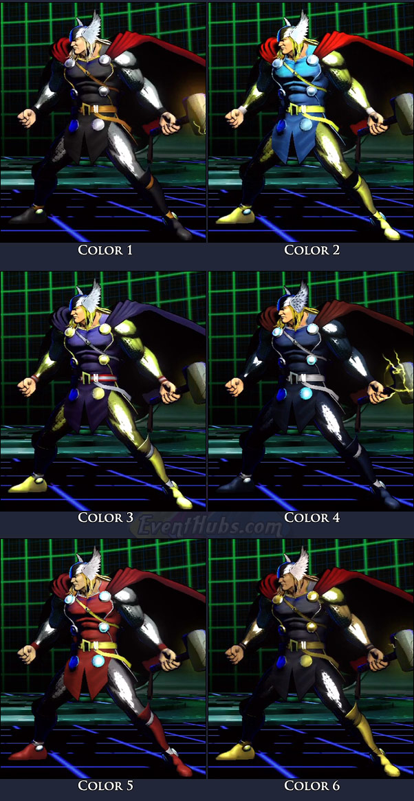 Thor's main costume colors in Marvel vs. Capcom 3