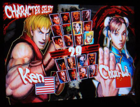Character select screen shows Gouken and Seth playable
