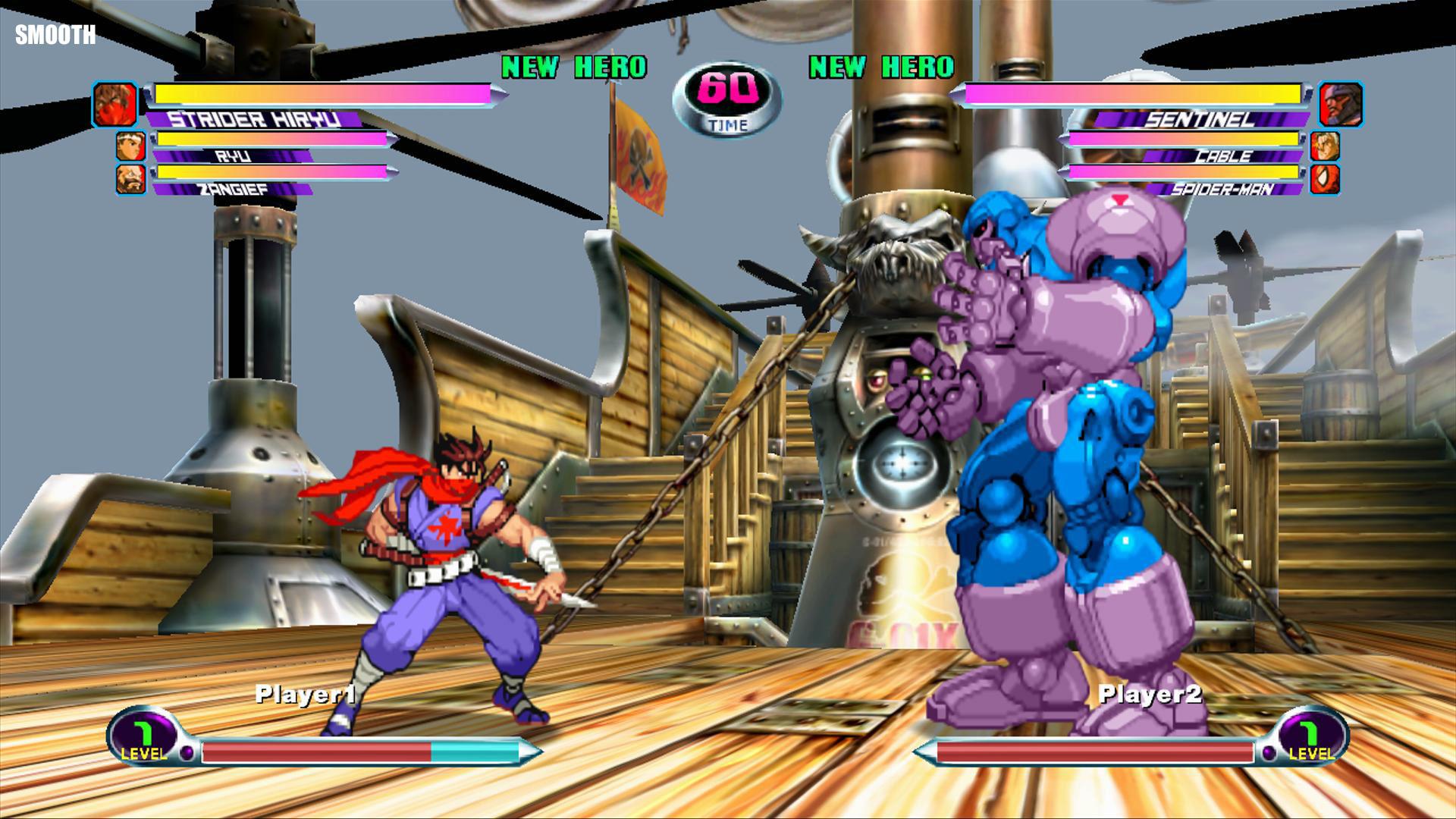 Marvel vs. Capcom 2 HD Sprites in Smooth rendering mode