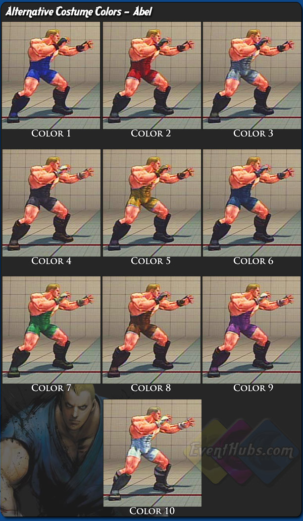 Abel's alternative outfit colors for Street Fighter 4