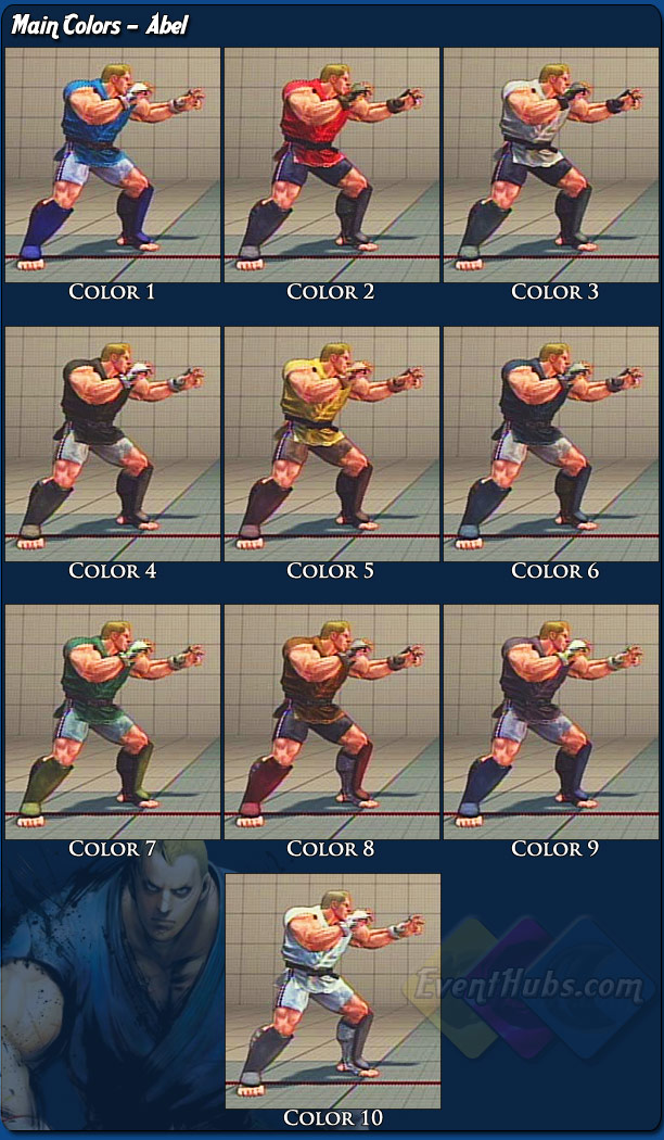 Abel's main costume colors for Street Fighter 4