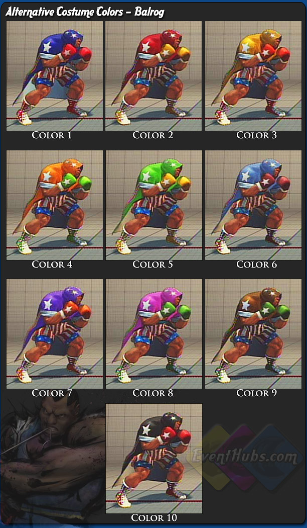 Balrog's (Boxer) alternative outfit colors for Street Fighter 4
