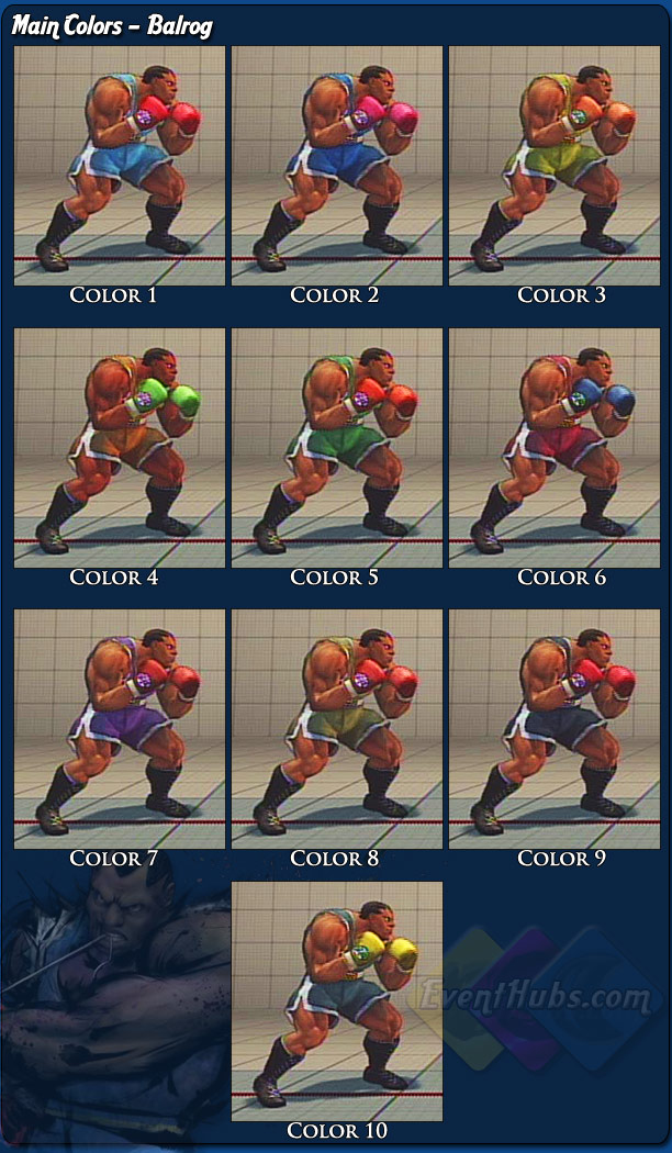 Balrog's (Boxer) main costume colors for Street Fighter 4