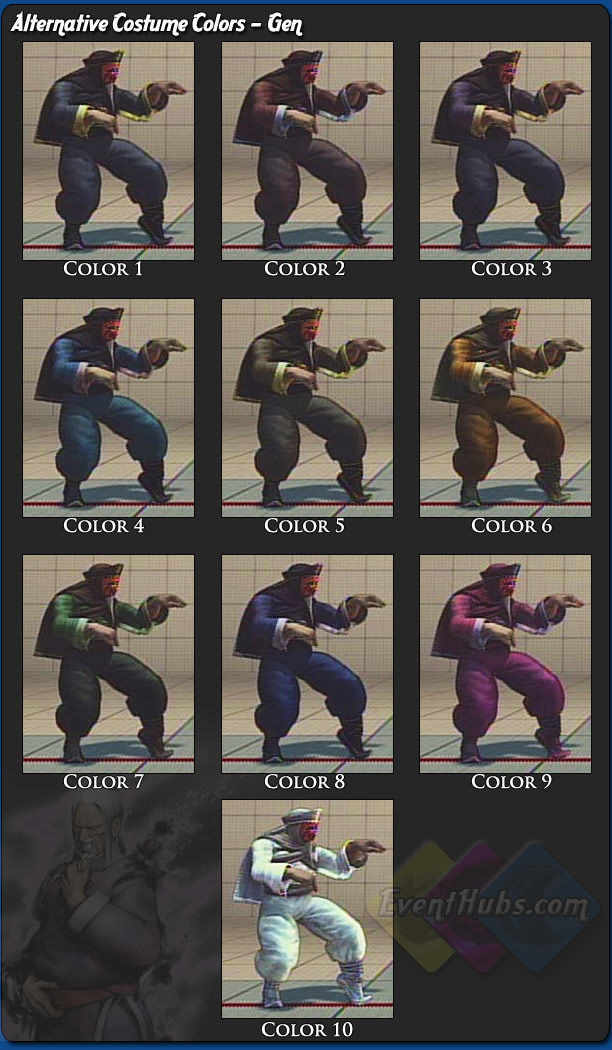 Gen's alternative outfit colors for Street Fighter 4