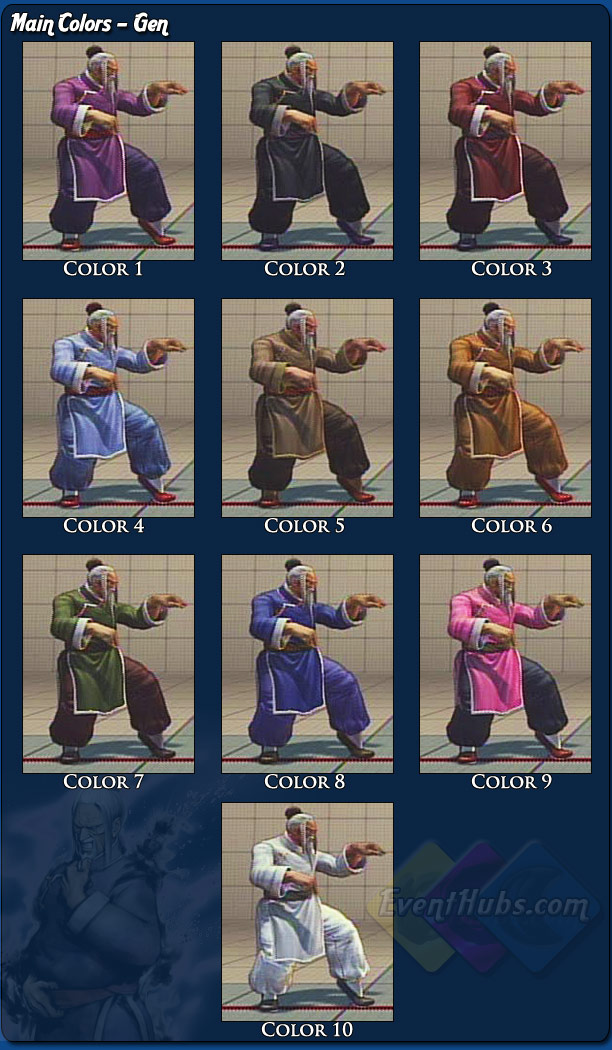 Gen's main costume colors for Street Fighter 4