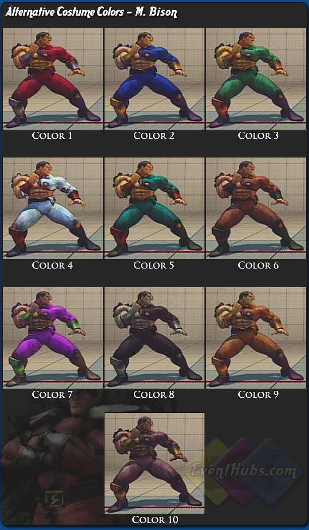 M. Bison's (Dictator) alternative outfit colors for Street Fighter 4