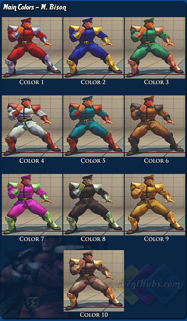 M. Bison's (Dictator) main costume colors for Street Fighter 4