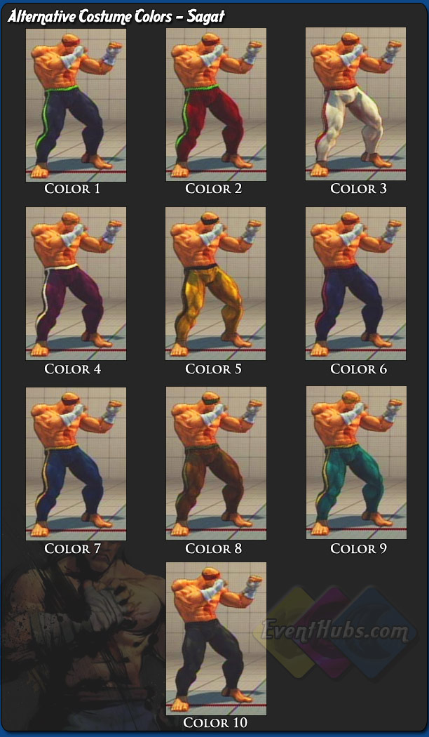Sagat's alternative outfit colors for Street Fighter 4