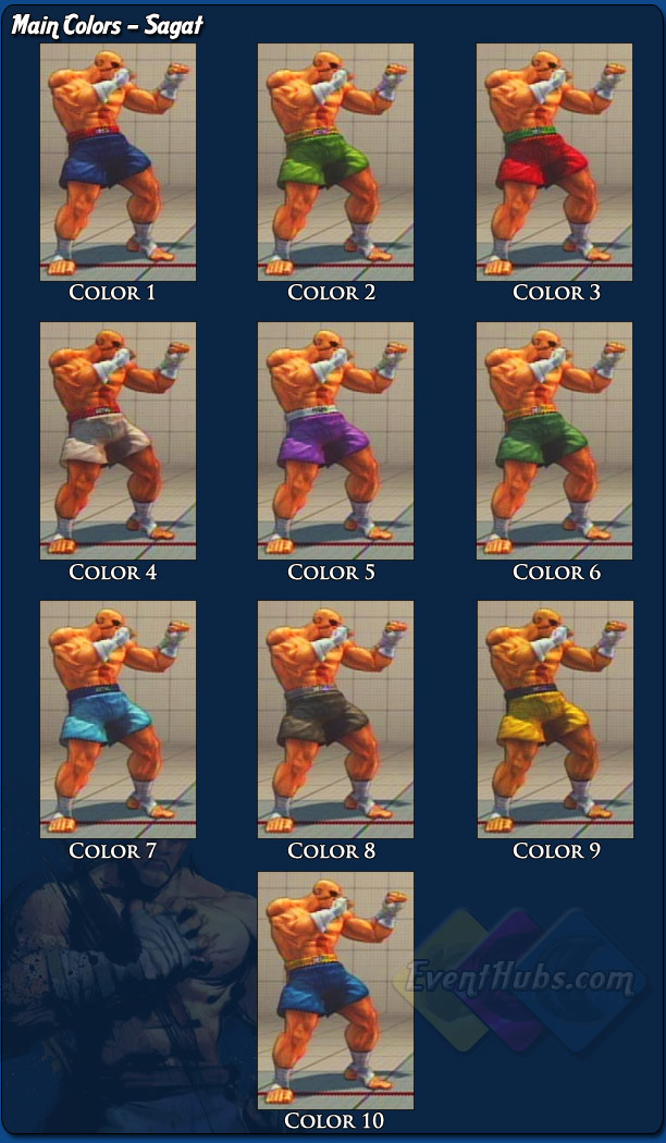 Sagat's main costume colors for Street Fighter 4
