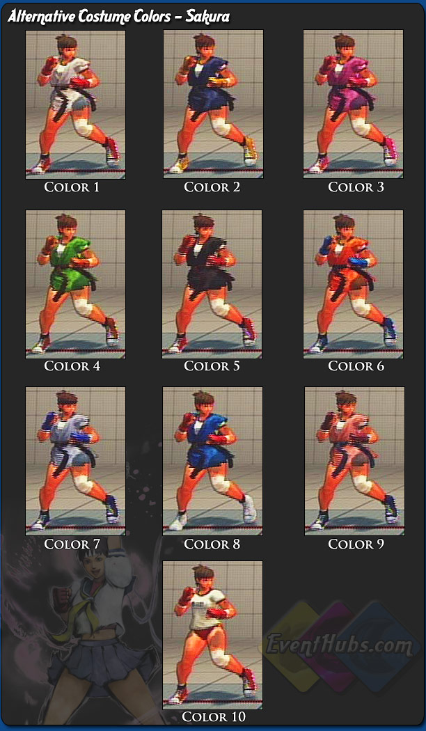 Sakura's alternative outfit colors for Street Fighter 4