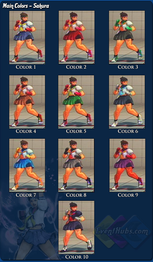 Sakura's main costume colors for Street Fighter 4