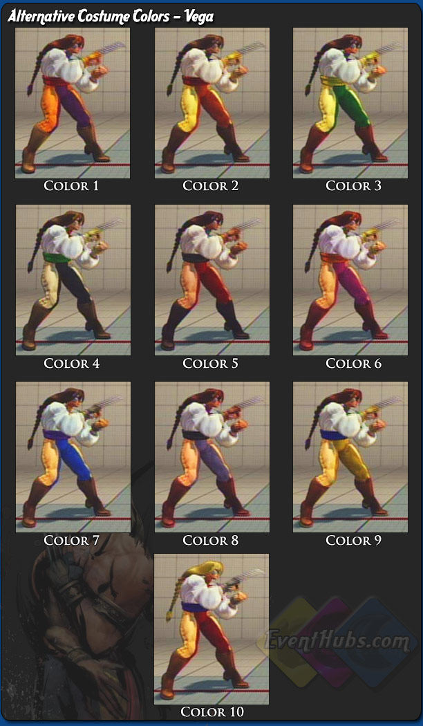 Vega's (Claw) alternative outfit colors for Street Fighter 4