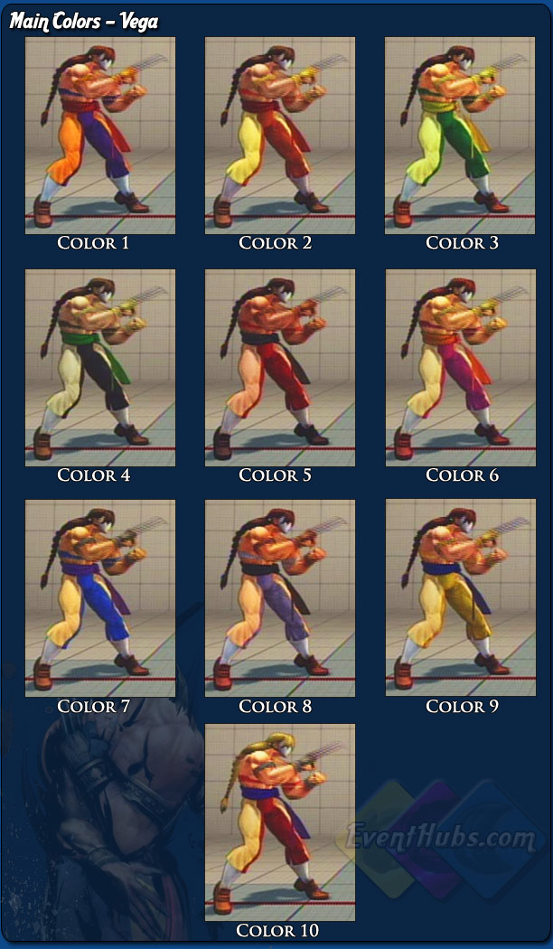 Vega's (Claw) main costume colors for Street Fighter 4