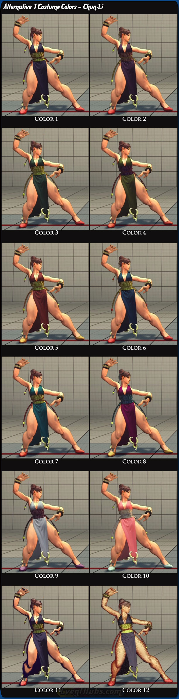 Costume And Alternative Outfit Colors For Chun Li In Super Street