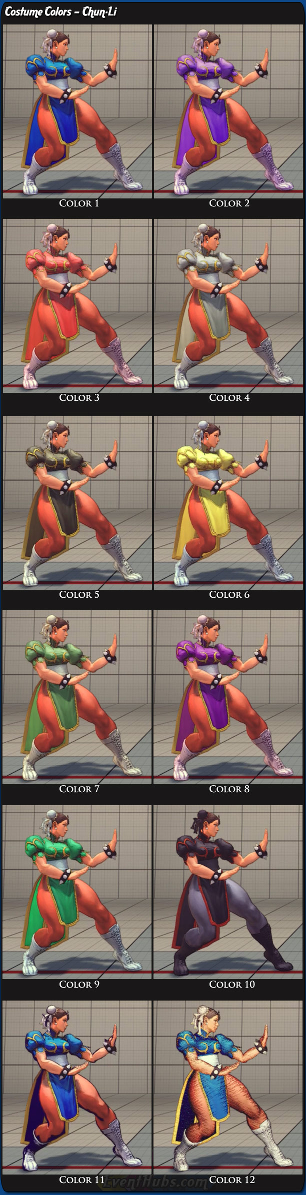 Chun-Li's main costume colors for Super Street Fighter 4