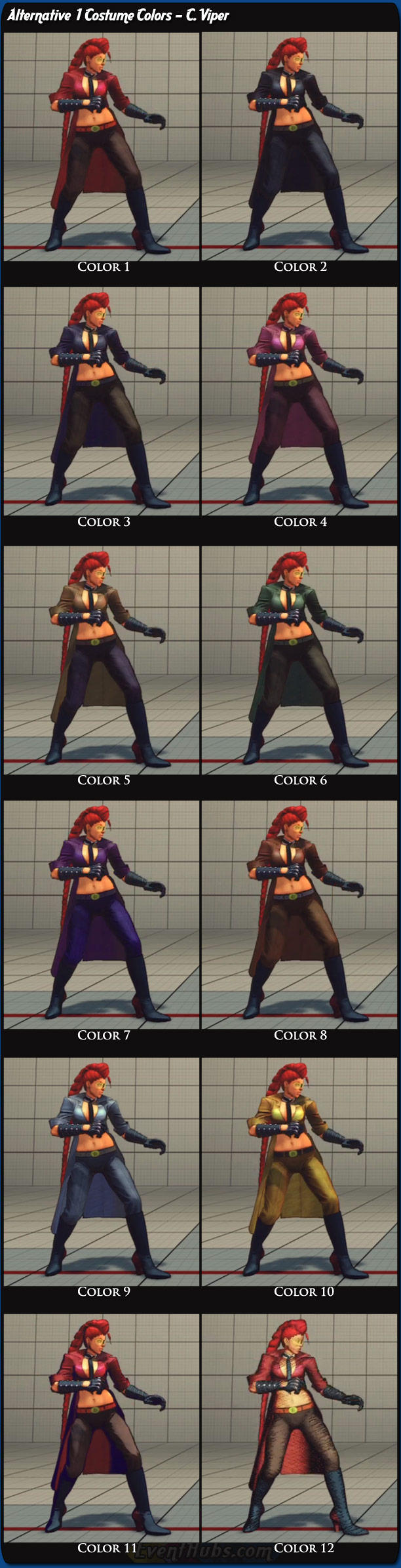 C. Viper's alternative costume colors for Super Street Fighter 4