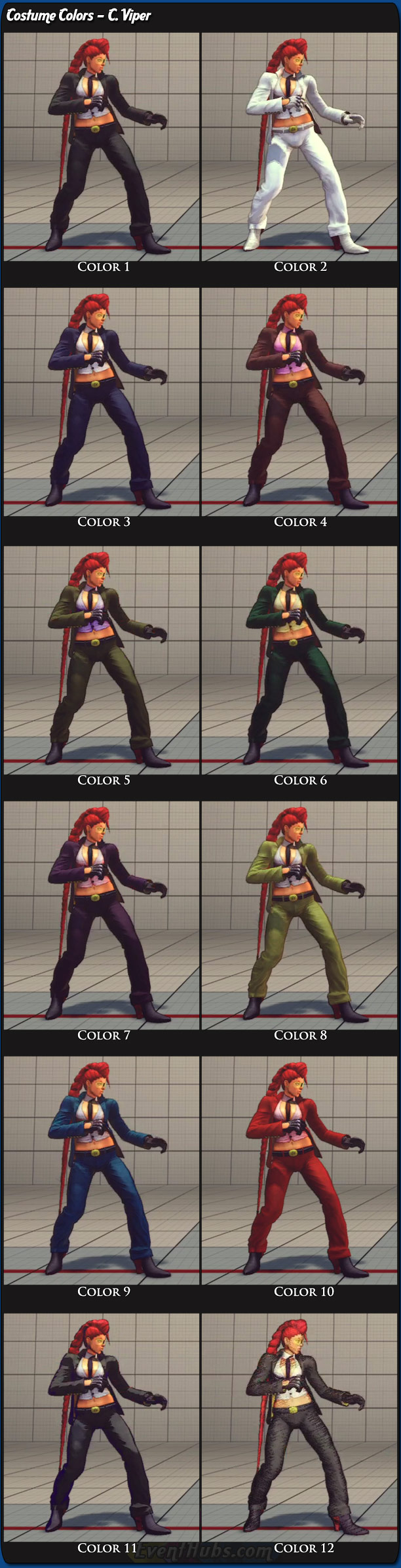 C. Viper's main costume colors for Super Street Fighter 4