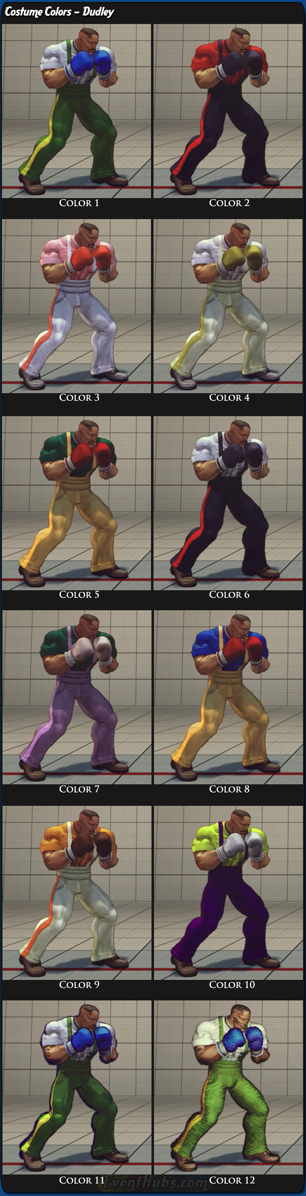 Dudley's main costume colors for Super Street Fighter 4