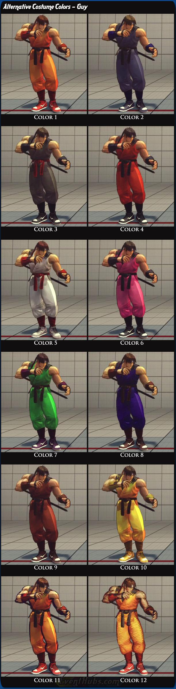 Guy's alternative costume colors for Super Street Fighter 4