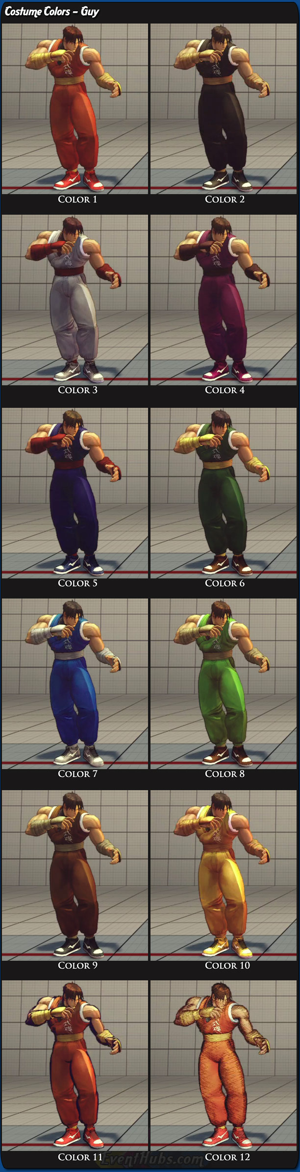 Guy's main costume colors for Super Street Fighter 4