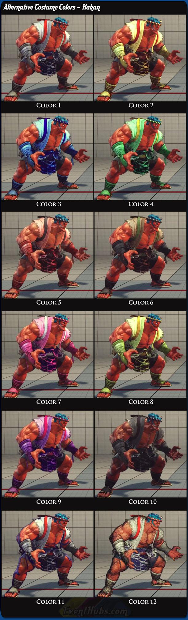 Hakan's alternative costume colors for Super Street Fighter 4