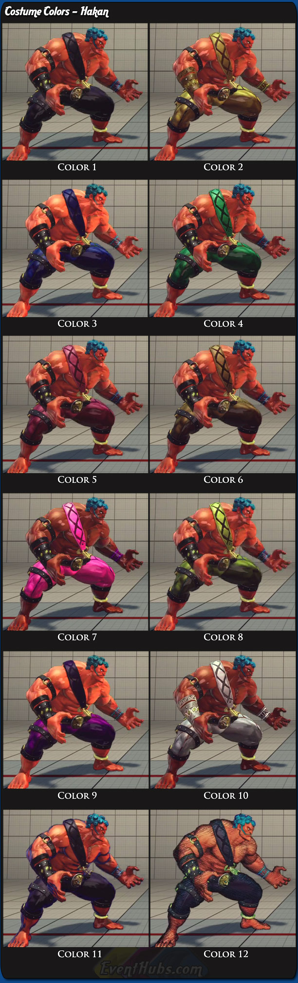 Hakan's main costume colors for Super Street Fighter 4