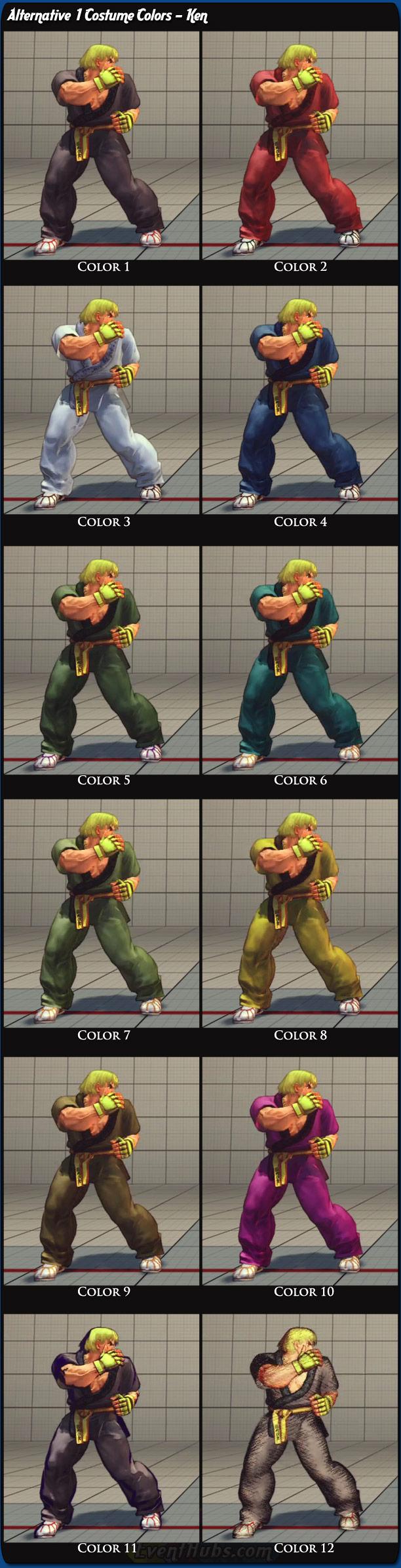 Ken's alternative costume colors for Super Street Fighter 4