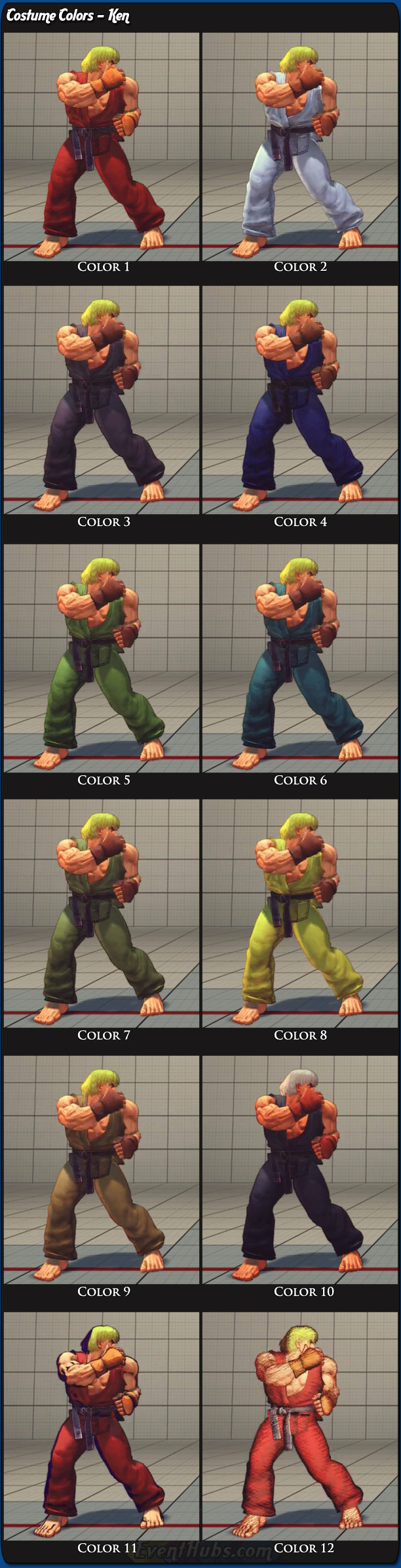 Ken's main costume colors for Super Street Fighter 4