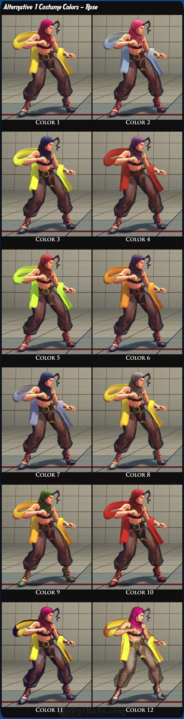 Rose's alternative costume colors for Super Street Fighter 4