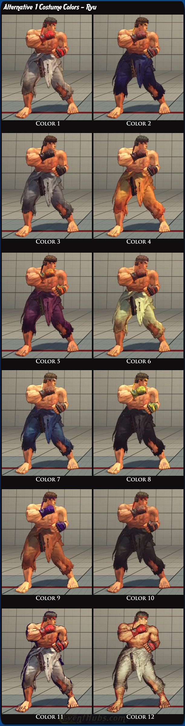 Ryu's alternative costume colors for Super Street Fighter 4