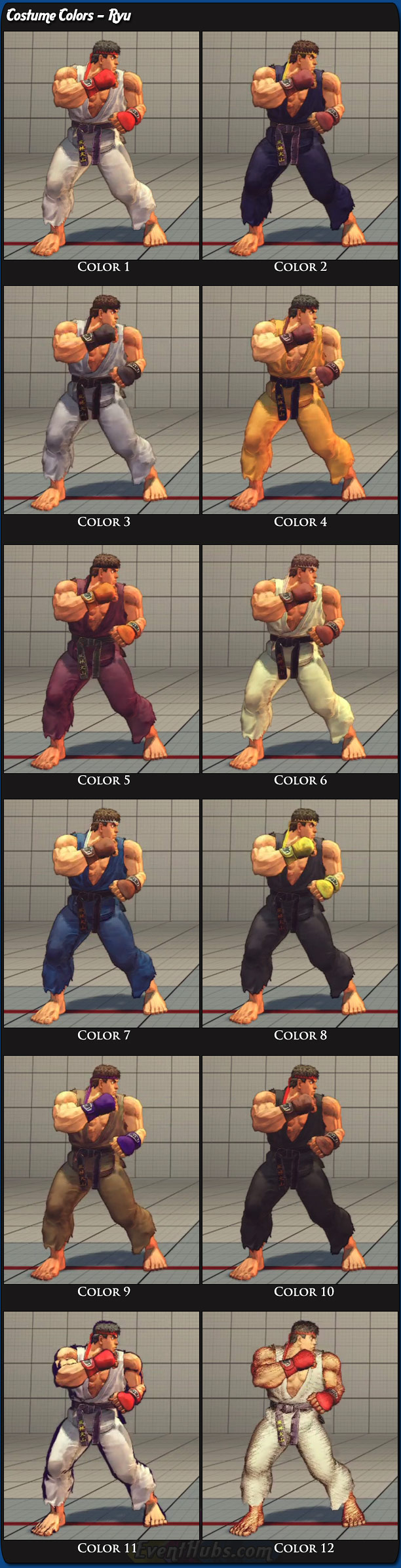 Ryu's main costume colors for Super Street Fighter 4